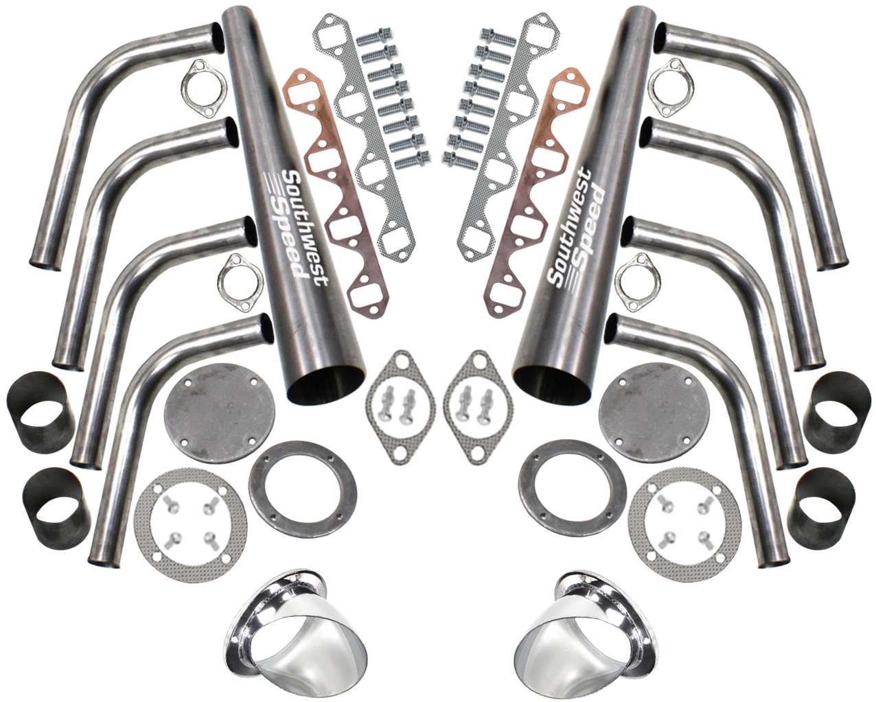 Patriot Exhaust H3811-1 Lakester 3-1//2 Coated Header Collector Turnout Kit