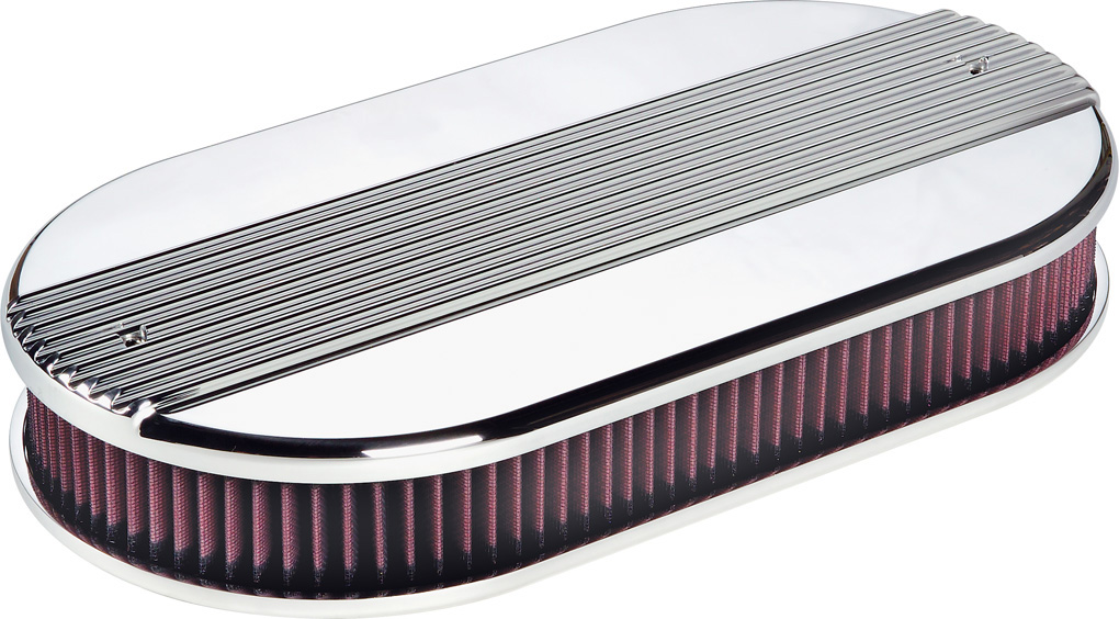 Billet Air Cleaner : Billet specialties ribbed polished aluminum air cleaner