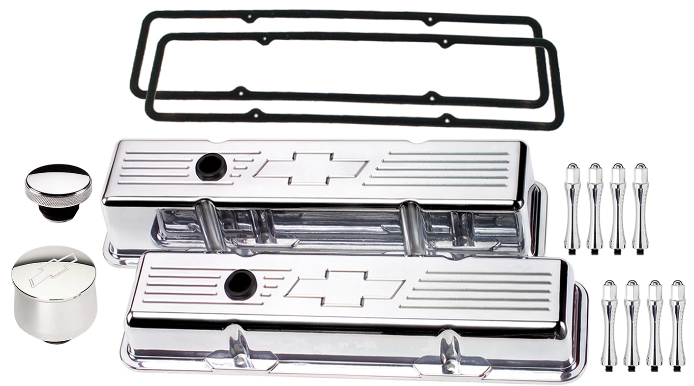 BILLET SPECIALTIES POLISHED SHORT VALVE COVERS,CHEVY BOWTIE,PCV BREATHER,CAP,ACN