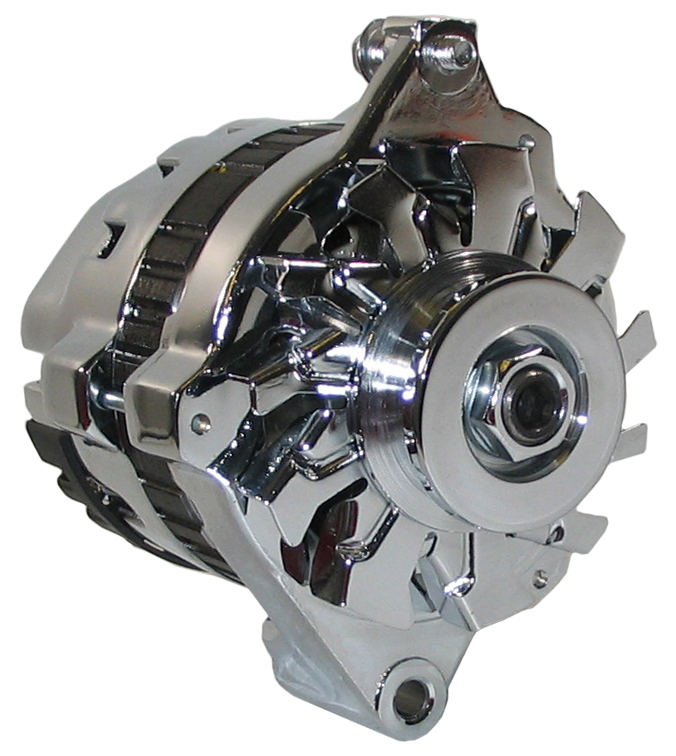 new powermaster delco late style alternator cs121 chrome 1 wire 100 amp w v belt ebay