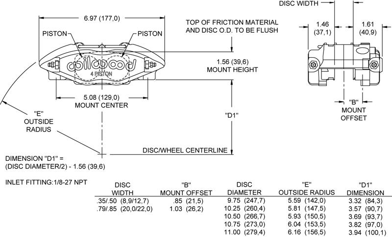 Wilwood 120-8724 Race Caliper Power lite 1.00 x .500 Radial Mnt.