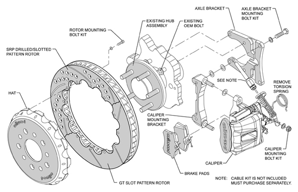 wilwood disc brake kit 94 13 u0026quot  rotors red calipers drilled