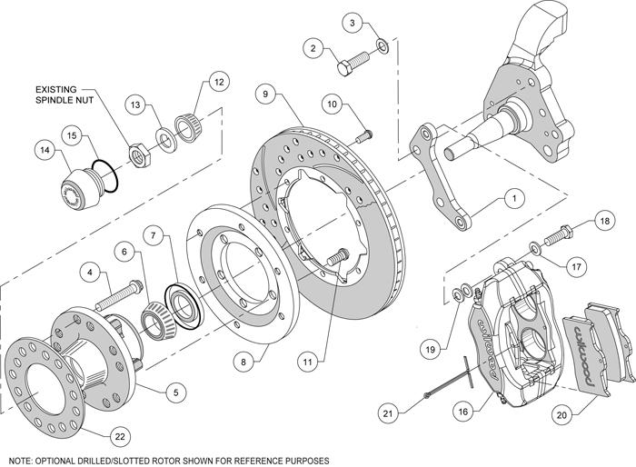 Wilwood Disc Brake Kit Front 70 72 Dodge Challenger w Disc Spindles Drill Rotors