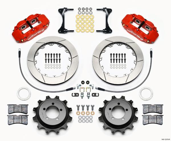 "Wilwood Disc Brake Kit Rear Subaru 13"" Rotors Red Calipers 12878 R"