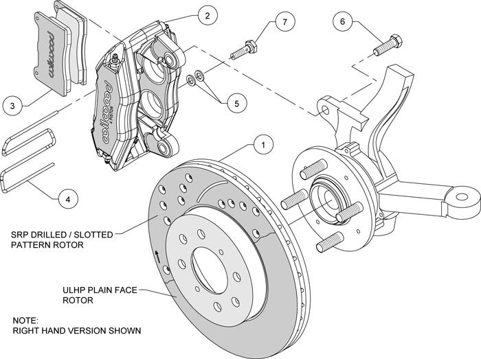 Brake Rotor And Caliper Diagram : Wilwood disc brake kit front stock replacement honda