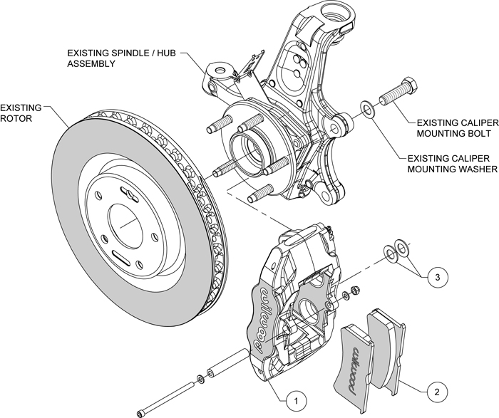 wilwood red brake caliper & pad kit,1997-2013 corvette,c-5 ... rear caliper diagram