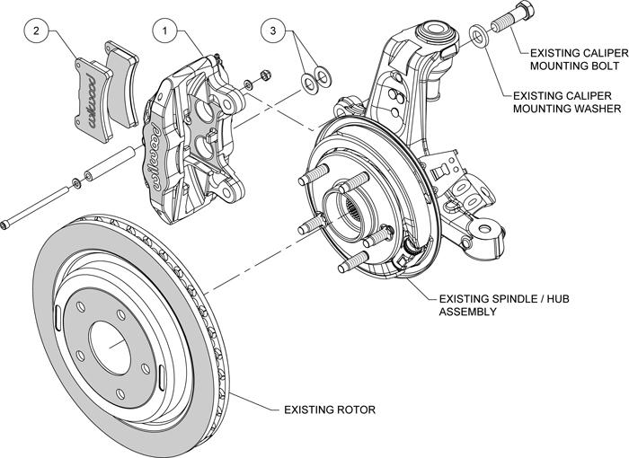 new wilwood red dpc56 rear brake caliper  u0026 pad kit 97
