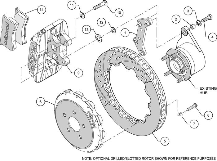 "Wilwood Disc Brake Kit Front Subaru Saab WRX etc 13"" Drilled Rotors Red Calipers"