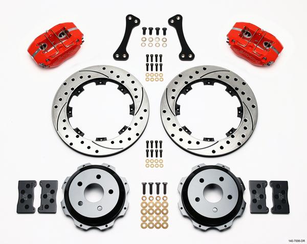 "Wilwood Disc Brake Kit Subaru Saab WRX etc 13"" 12"" Drilled Rotors Red Calipers"