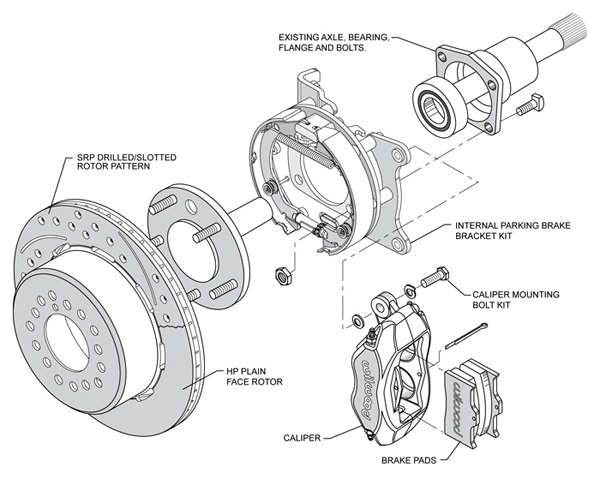 wilwood disc brake kit 64 74 gm 12 19 drilled rotors 6 4 piston rh ebay com Car Brake Diagram Brake Pad Diagram