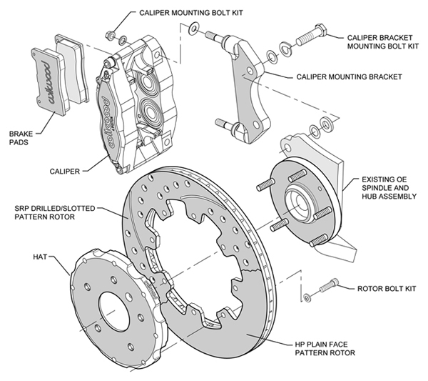 Rear Brake Parts Diagram : Wilwood disc brake kit subaru impreza wrx forester legacy