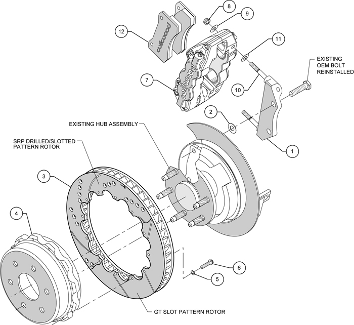 wilwood disc brake kit,cadillac escalade,esv,ext,8992/9407 ... chrysler brakes diagram
