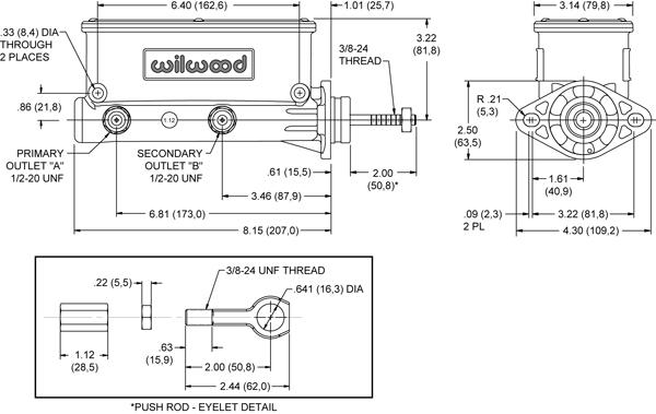 wilwood tandem master cylinder black for 64