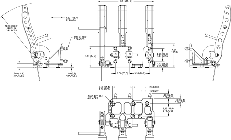 wilwood floor mount pedal assembly brake clutch  u0026 throttle